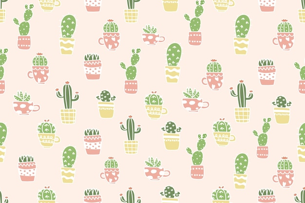 Śliczny kaktus w garnka wzoru tle.