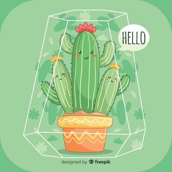Śliczny kaktusowy tło