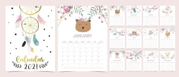 Śliczny kalendarz boho