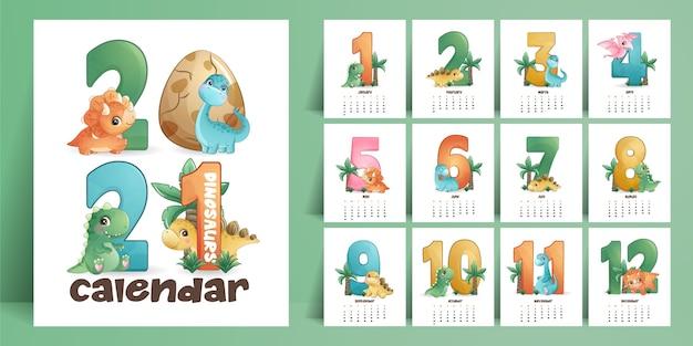 Śliczny kalendarz dinozaurów na rok kolekcji
