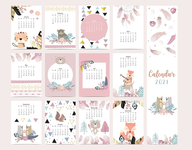 Śliczny kalendarz w stylu boho z dzikim lasem lisa piórkowego dla dzieci kid baby