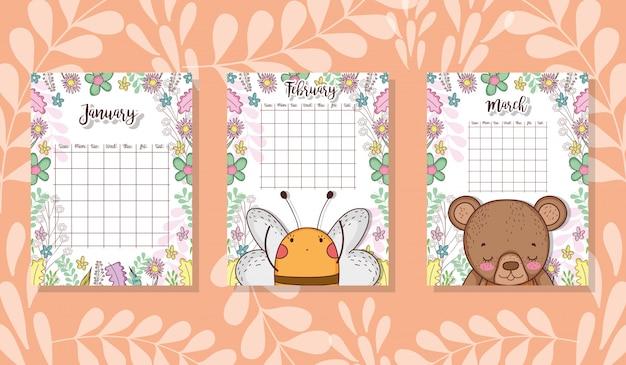 Śliczny kalendarz ze zwierzętami i kwiatami