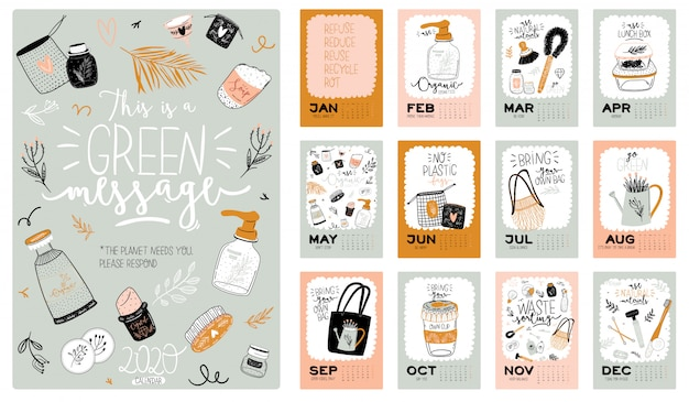 Śliczny kalendarz zero waste 2021. roczny kalendarz planner ze wszystkimi miesiącami. dobry organizator i harmonogram.
