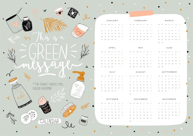 Śliczny kalendarz zero waste 2021. roczny kalendarz planner ze wszystkimi miesiącami. dobry organizator i harmonogram