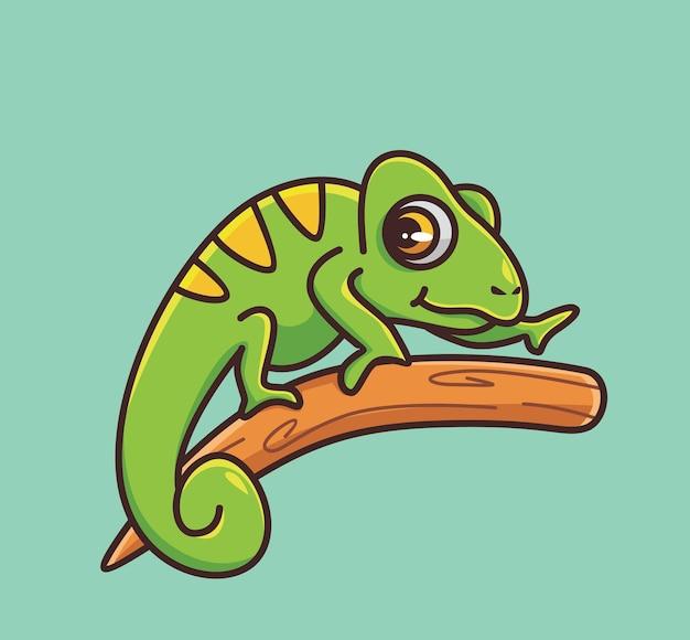 Śliczny kameleon chodzić powoli kreskówka zwierzęca natura koncepcja na białym tle ilustracja płaski styl