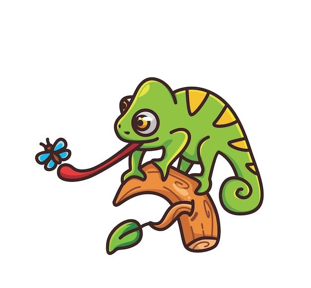 Śliczny kameleon łapiący owady owadów jedzenie kreskówka zwierzę natura koncepcja ilustracja na białym tle płaskie sty