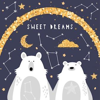 Śliczny kartka z pozdrowieniami z niedźwiedziami polarnymi
