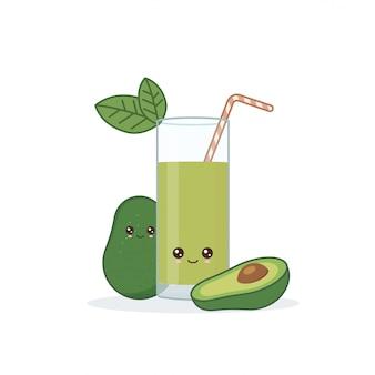 Śliczny kawai uśmiechnięty kreskówka awokado sok.