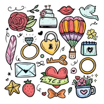 Śliczny kawaii balonem kreskówka element z ilustracją ślubną