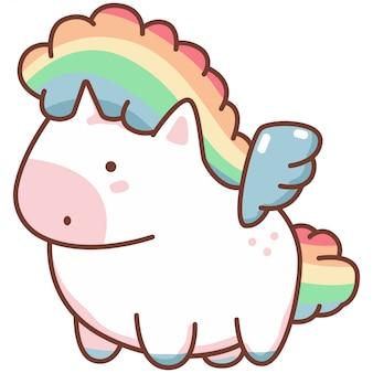 Śliczny kawaii jednorożec z tęczowymi włosami i anielskimi skrzydłami. postać z kreskówki wektor na białym tle.