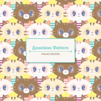 Śliczny kawaii kotek przezroczysty wzór