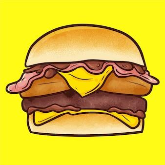 Śliczny kawaii pyszny duży burger wołowy z kurczakiem i serem gotowy do spożycia