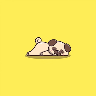 Śliczny kawaii ręcznie rysowane doddle leniwy i znudzony mops maskotka pies.