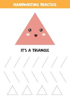 Śliczny kawaii trójkąt. geometria dla małych dzieci. arkusz edukacyjny dla dzieci. gry dla dzieci.