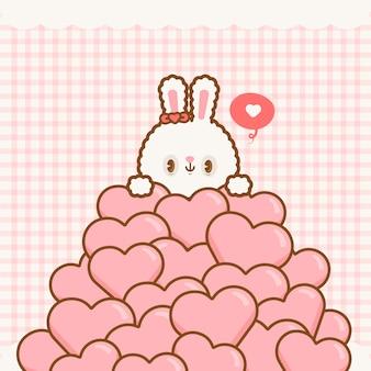 Śliczny kawaii walentynkowy królik