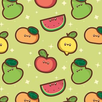 Śliczny kawaii wzór owoców