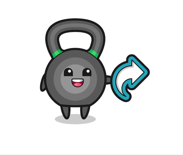 Śliczny kettleball przytrzymaj symbol udostępniania mediów społecznościowych, ładny styl dla t shirt, naklejki, elementu logo