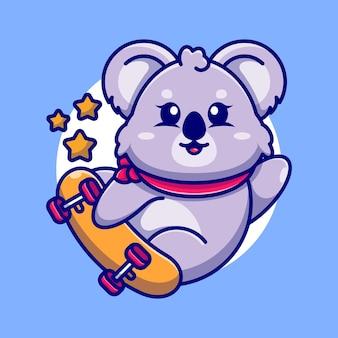 Śliczny koala grać na deskorolce kreskówka