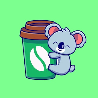 Śliczny koala hug coffee cup cartoon