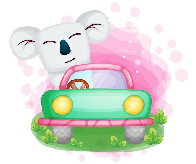Śliczny koala jazdy samochodem ilustracja
