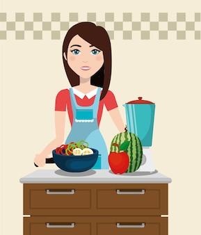 Śliczny kobiety kucharstwo w kuchni