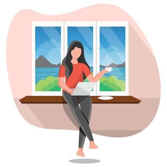 Śliczny kobiety obsiadanie na okno z laptopem w domowej wewnętrznej płaskiej charakter kreskówki ilustraci
