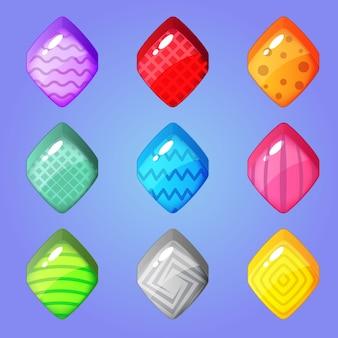Śliczny kolorowy diamentowy kształt cukierka i inne wzory w środku.