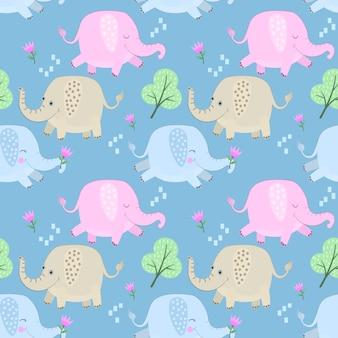 Śliczny kolorowy kreskówka słonia bezszwowy wzór.