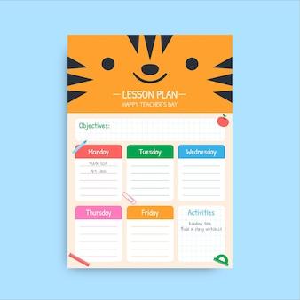 Śliczny Kolorowy Plan Lekcji Dla Nauczyciela Darmowych Wektorów