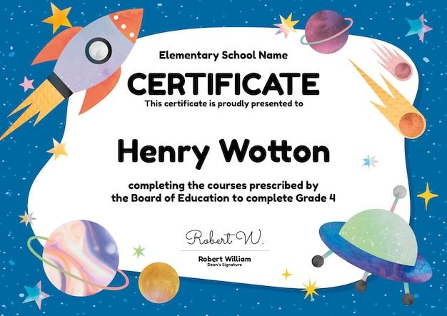 Śliczny kolorowy szablon certyfikatu w projektowaniu galaktyk dla dzieci