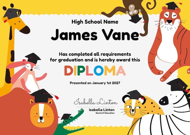 Śliczny kolorowy szablon certyfikatu w stylu safari dla dzieci