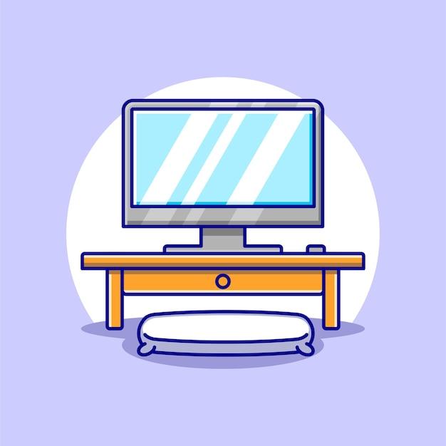 Śliczny komputer na biurku projekt kreskówki