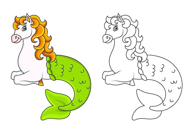 Śliczny koń syrenka kolorowanka dla dzieci
