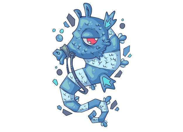 Śliczny konik morski. ilustracja kreatywnych kreskówek.