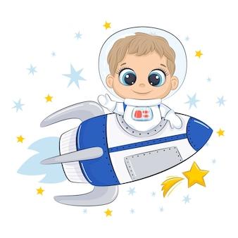 Śliczny kosmonauta ze statkiem kosmicznym i gwiazdami.