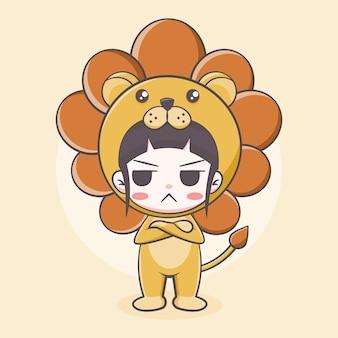Śliczny kostium lwa dziewczyna ilustracja kreskówka