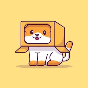 Śliczny kot bawić się w pudełkowatej kreskówki ikony ilustraci. koncepcja ikona zwierzę na białym tle. płaski styl kreskówek