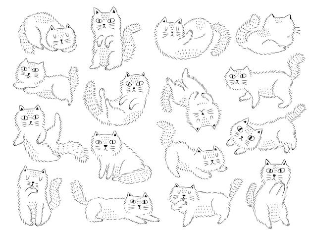 Śliczny kot doodle w skandynawskim stylu