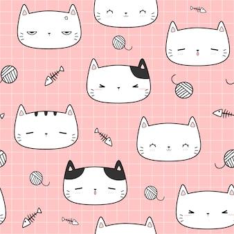 Śliczny kot głowy kreskówki doodle bezszwowy wzór