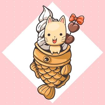 Śliczny kot i kreskówka lody taiyaki