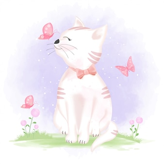 Śliczny kot i motyle, ręka rysująca ilustracja