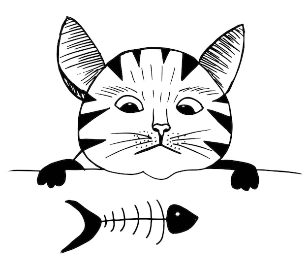 Śliczny kot i ryba