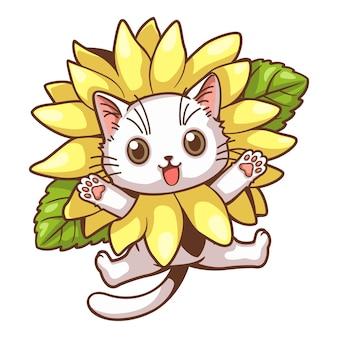 Śliczny kot i słonecznik kreskówka mały biały kot w słonecznikowej sukience