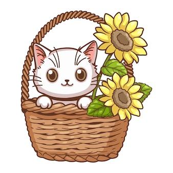 Śliczny kot i słonecznik kreskówka wektor ilustracja mały słodki biały kotek był w koszu