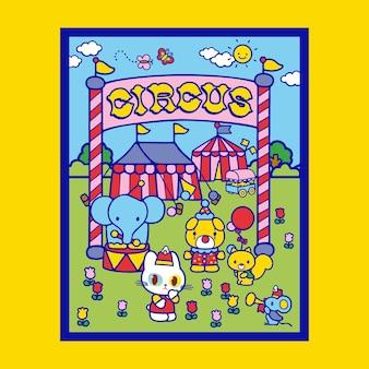 Śliczny kot idzie do ilustracji plakatu cyrkowego z projektem tła wesołego miasteczka