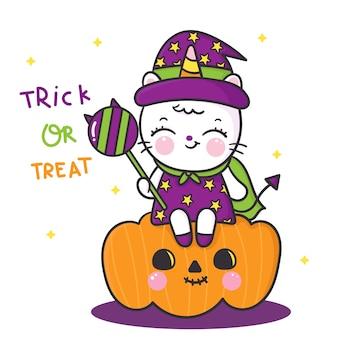 Śliczny kot jednorożec nosi sukienkę czarownicy na imprezę z okazji halloween