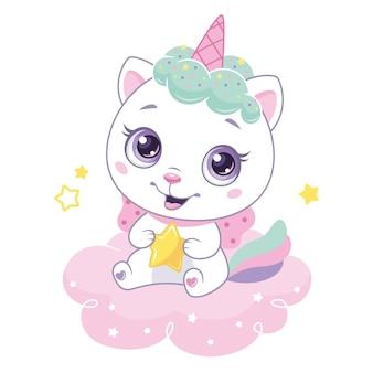 Śliczny kot jednorożec z małą gwiazdą siedzącą na różowym chmurku