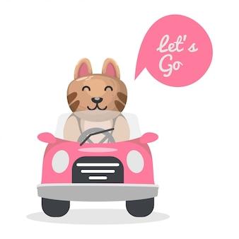 Śliczny kot jedzie samochodową kreskówkę