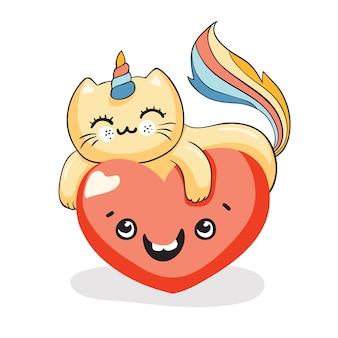 Śliczny kot kawaii, kot jednorożec na uśmiechniętym sercu, ilustracja wektorowa eps 10