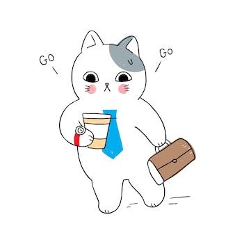 Śliczny kot kreskówka śpieszy pracę